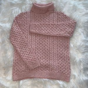 Pretty Muted Pink LANDS END Turtleneck Sweater